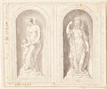 Fine Art - Work on Paper:Drawing, WOLFGANG JACOB GERSTENS (German, circa 1730-circa 1760).Sculptural Studies for Niches: Venus and Cupid, Minerva,circa...