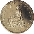 Patterns: , 1870 50C Half Dollar, Judd-934, Pollock-1040, Low R.7, PR64 CameoPCGS. William Barber's seated figure of Liberty faces lef...