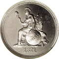 1871 10C Indian Princess Dime, Judd-1079, Pollock-1215, R.8, PR67 NGC. This is Longacre's Indian Princess design in a pl...