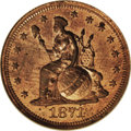 Patterns: , 1871 10C Indian Princess Dime, Judd-1085, Pollock-1221, Low R.7,PR65 Red NGC. The obverse is the same as the preceding and...