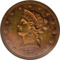 Patterns: , 1871 $10 Liberty Head Eagle, Judd-1173, Pollock-1315, High R.7, PR63 Brown NGC. The regular dies for the 1871 Liberty Head ...