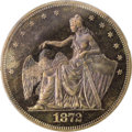 1872 $1 Amazonian Silver Dollar, Judd-1206, Pollock-1346, Low R.7, PR65 Red and Brown PCGS. The obverse exhibits a seate...