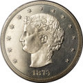 Patterns: , 1873 T$1 Trade Dollar, Judd-1281, Pollock-1423, R.4, PR63 PCGS. Theobverse, designed by J. A. Bailly, features a coiled ha...