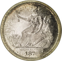 1876 $1 Seated Liberty Silver Dollar, Judd-1467, Pollock-1618, High R.7, PR66 NGC. The obverse shows Liberty seated on t...