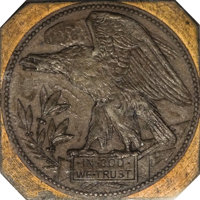 (1877) 50C Defiant Eagle Reverse PR55 Uncertified. This interesting piece has toned brown, and is set within a copper sq...