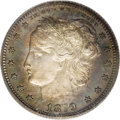 "Patterns: , 1879 25C Washlady Quarter Dollar, Judd-1590, Pollock-1783, HighR.6, PR65 Cameo PCGS. Barber's ""Washlady"" design. The head ..."