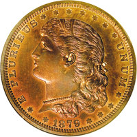 1879 $1 Schoolgirl Silver Dollar, Judd-1609, Pollock-1805, Low R.7, PR66 Red and Brown NGC. The obverse portrays a youth...