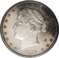 Patterns: , 1879 $1 Goloid Metric Dollar, Judd-1622, Pollock-1818, Low R.7,PR64 NGC. Liberty faces left with her hair tied in a tight ...