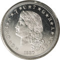 Patterns: , 1880 $4 Flowing Hair Four Dollar Stella, Judd-1659, Pollock-1859,High R.7, PR64 Cameo PCGS. The Flowing Hair design by Cha...