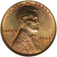 1944 P1C Lincoln Cent, Pollock-2078, R.7(?), MS64 Red and Brown NGC. Listed on page 223 in the Seventh Edition of Judd...
