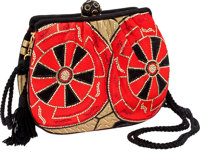 Judith Leiber Red, Black & Gold Fabric Bag with Beaded Clasp Closure