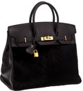 Luxury Accessories:Bags, Hermes Very Rare Black Swift Leather & Black Pony Hair Troika 36cm HAC Birkin Bag with Gold Hardware. ...