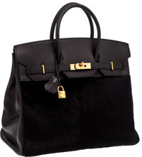 6118cbaf25 Hermes Very Rare Black Swift Leather  amp  Black Pony Hair Troika 36cm HAC Birkin  Bag