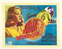 "The Brasher Doubloon (20th Century Fox, 1946). British Half Sheet (22"" X 28""). UK Title: The High Window"