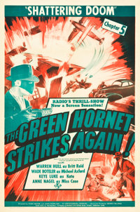 "The Green Hornet Strikes Again (Universal, 1941). One Sheet (27"" X 41""). Chapter 5 -- ""Shattering Doom.&q..."