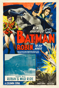 "The New Adventures of Batman and Robin (Columbia, 1949). One Sheet (27"" X 41"").Chapter 3 -- ""Robin's Wild..."