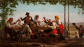 Fine Art - Painting, American:Antique  (Pre 1900), ENOCH WOOD PERRY (American, 1831-1915). Country Festival,1865. Oil on canvas. 17 x 30-3/4 inches (43.2 x 78.1 cm). Sign...