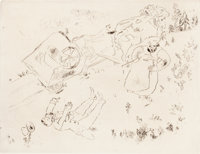 MARC CHAGALL (Belorussian, 1887-1985) Four etchings from Les Âmes Mortes, 1948 Etching From the e