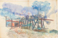 Post-War & Contemporary:Contemporary, DENNIS OPPENHEIM (American, 1938-2011). Study for CharmelJourvey (diptych), 1980. Watercolor, pastel, charcoal. 50 x76... (Total: 2 Items)