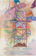 Post-War & Contemporary:Contemporary, DENNIS OPPENHEIM (American, 1938-2011). Study for LaunchingStructure (diptych), 1981. Pencil, oil, wash, pastel on pape...(Total: 2 Items)