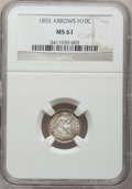 Seated Half Dimes: , 1855 H10C Arrows MS61 NGC. NGC Census: (8/158). PCGS Population(5/114). Mintage: 1,750,000. Numismedia Wsl. Price for prob...