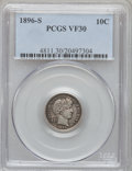 Barber Dimes: , 1896-S 10C VF30 PCGS. PCGS Population (9/98). NGC Census: (1/67).Mintage: 575,056. Numismedia Wsl. Price for problem free ...