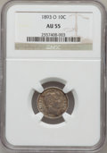 Barber Dimes: , 1893-O 10C AU55 NGC. NGC Census: (2/113). PCGS Population (7/113).Mintage: 1,760,000. Numismedia Wsl. Price for problem fr...
