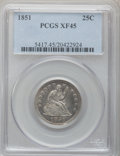 Seated Quarters: , 1851 25C XF45 PCGS. PCGS Population (4/27). NGC Census: (2/22).Mintage: 160,000. Numismedia Wsl. Price for problem free NG...