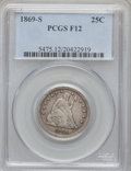 Seated Quarters: , 1869-S 25C Fine 12 PCGS. PCGS Population (3/49). NGC Census:(0/19). Mintage: 76,000. Numismedia Wsl. Price for problem fre...
