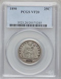 Seated Quarters: , 1890 25C VF20 PCGS. PCGS Population (1/190). NGC Census: (0/168).Mintage: 80,000. Numismedia Wsl. Price for problem free N...