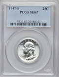 Washington Quarters: , 1947-S 25C MS67 PCGS. PCGS Population (132/3). NGC Census: (614/2).Mintage: 5,532,000. Numismedia Wsl. Price for problem f...