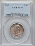 Washington Quarters: , 1942 25C MS66 PCGS. PCGS Population (209/22). NGC Census: (368/85).Mintage: 102,117,120. Numismedia Wsl. Price for problem...