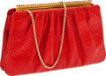 Luxury Accessories:Bags, Judith Leiber Red Snakeskin Clutch Bag with Shoulder Strap. ...