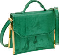 Luxury Accessories:Bags, Judith Leiber Green Lizard Accordion Bag. ...