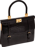 Luxury Accessories:Bags, Charles Jourdan Vintage Shiny Black Crocodile Small Day Bag. ...