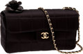 Luxury Accessories:Bags, Chanel Black Satin Signature Evening Bag with Leather Flower. ...