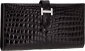 Luxury Accessories:Accessories, Hermes Exceptional Collection Shiny Black Nilo Crocodile BearnWallet Clutch with 18K White Gold & Diamond Hardware. ...