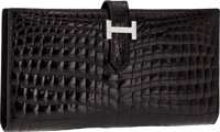 Hermes Exceptional Collection Shiny Black Nilo Crocodile Bearn Wallet Clutch with 18K White Gold & Diamond Hardw...