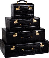Mark Cross 1970's Shiny Black Alligator 4-piece Trunk Set with Beige Leather & Red Velvet Interior