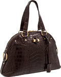 Luxury Accessories:Bags, Yves St. Laurent Very Rare Matte Chocolate Crocodile Large Muse Bagwith Gold Hardware. ...
