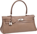 Luxury Accessories:Bags, Hermes Etoupe Clemence Leather Shoulder Kelly Bag with PalladiumHardware. ...
