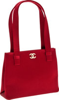 Luxury Accessories:Bags, Chanel Red Satin Evening Bag with Crystal CC. ...