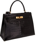 Luxury Accessories:Bags, Hermes 28cm Shiny Black Crocodile Rigide Kelly Bag with GoldHardware. ...
