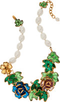 Luxury Accessories:Accessories, Chanel Very Rare Gripoix Poured Glass Multicolor Leaf & FlowerNecklace. ...