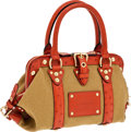 Luxury Accessories:Bags, Louis Vuitton Rare Sac de Nuit Show Bag in Rust Ostrich and Canvas,Retail ~$4000. ...