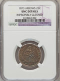 Seated Quarters: , 1873 25C Arrows --Improperly Cleaned--NGC Details. Unc. NGC Census:(3/111). PCGS Population (4/112). Mintage: 1,271,700. N...