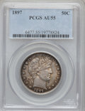 Barber Half Dollars: , 1897 50C AU55 PCGS. PCGS Population (27/146). NGC Census: (10/145).Mintage: 2,480,731. Numismedia Wsl. Price for problem f...