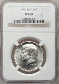 1966 50C SMS MS69 NGC. NGC Census: (0/0). PCGS Population (0/0). Mintage: 2,200,000. Numismedia Wsl. Price for problem f...