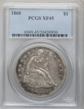 Seated Dollars: , 1860 $1 XF45 PCGS. PCGS Population (16/127). NGC Census: (8/90).Mintage: 217,600. Numismedia Wsl. Price for problem free N...