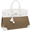 Luxury Accessories:Bags, Hermes 35cm Olive Canvas and White Swift Leather Birkin Bag withPalladium Hardware. ...